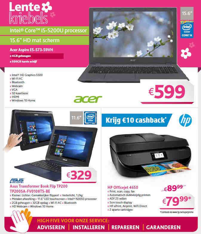 Burmex lente folder vol met promoties van desktop notebook tablets printers
