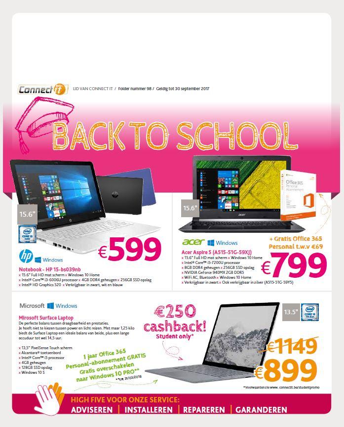 Een folder boordevol promoties van notebooks , laptops, desktops, ....